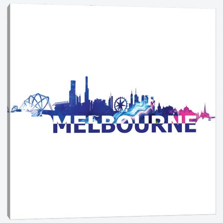 Melbourne Australia Skyline Scissor Cut Giant Text Canvas Print #MMB192} by Markus & Martina Bleichner Canvas Art Print