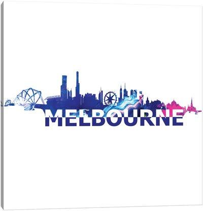 Melbourne Australia Skyline Scissor Cut Giant Text Canvas Art Print
