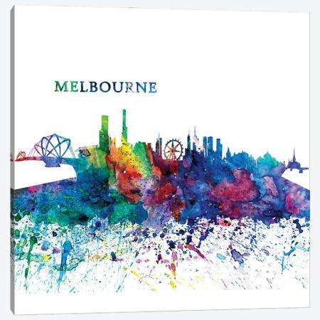 Melbourne Australia Skyline Silhouette Impressionistic Splash Canvas Print #MMB193} by Markus & Martina Bleichner Canvas Print