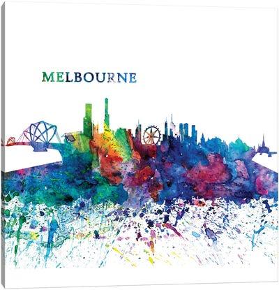 Melbourne Australia Skyline Silhouette Impressionistic Splash Canvas Art Print