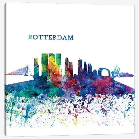 Rotterdam Holland Skyline Silhouette Impressionistic Splash Canvas Print #MMB194} by Markus & Martina Bleichner Canvas Wall Art