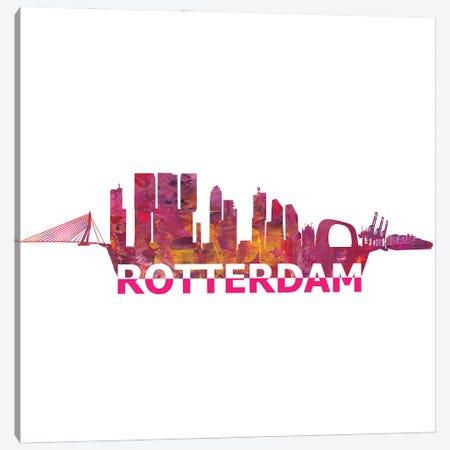 Rotterdam Holland Skyline Scissor Cut Giant Text Canvas Print #MMB195} by Markus & Martina Bleichner Canvas Art