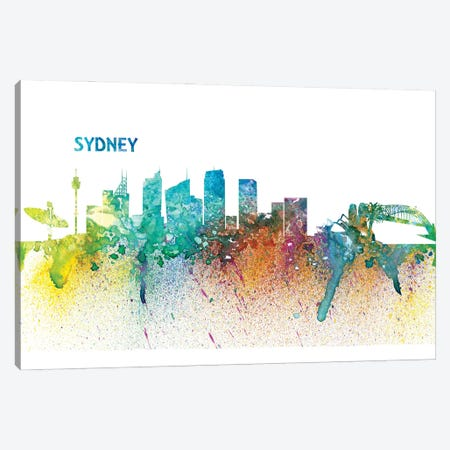 Sydney Australia Skyline Silhouette Impressionistic Splash Canvas Print #MMB196} by Markus & Martina Bleichner Canvas Artwork