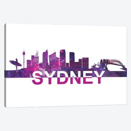 Sydney Australia Skyline Scissor Cut Giant Text Canvas Print #MMB197} by Markus & Martina Bleichner Canvas Wall Art