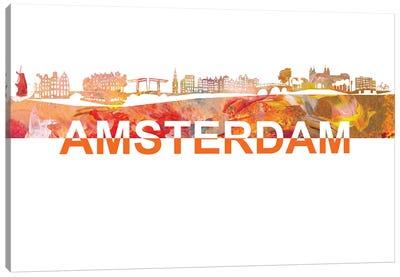 Amsterdam Skyline Scissor Cut Giant Text Canvas Art Print