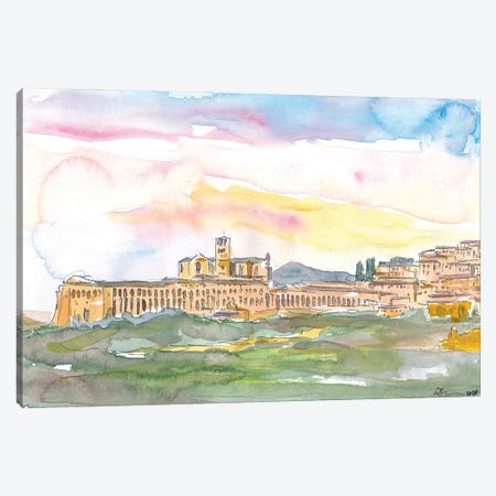 Assisi Skyline Italian Town at Sunset Canvas Print #MMB199} by Markus & Martina Bleichner Canvas Art Print