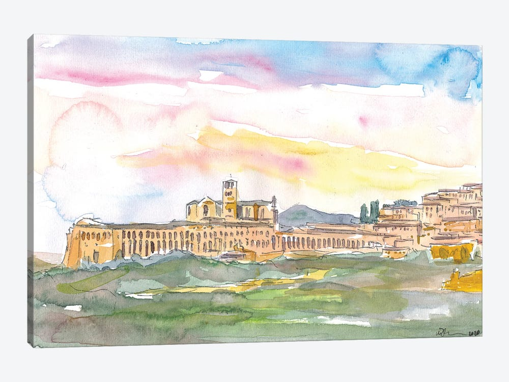 Assisi Skyline Italian Town at Sunset by Markus & Martina Bleichner 1-piece Canvas Wall Art