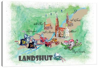 Landshut, Germany Travel Poster Canvas Art Print