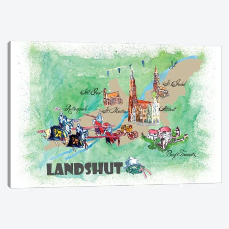 Landshut, Germany Travel Poster Canvas Print #MMB19} by Markus & Martina Bleichner Canvas Art