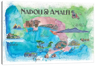 Amalfi, Napoli, Italy Travel Poster Canvas Art Print