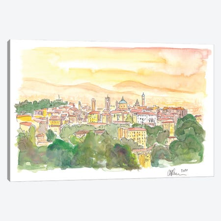 Bergamo Italy Citta Alta at Dusk Canvas Print #MMB205} by Markus & Martina Bleichner Canvas Art