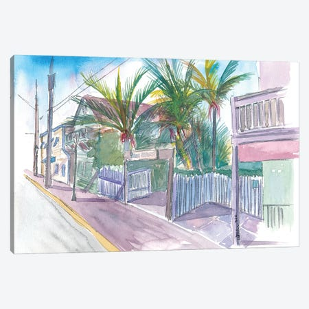 Blue Heaven Thomas St Patio Key West Florida Canvas Print #MMB206} by Markus & Martina Bleichner Canvas Wall Art