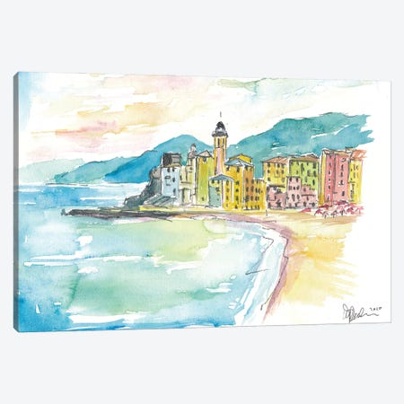 Camogli Beach with Historic Italian Town Center Canvas Print #MMB207} by Markus & Martina Bleichner Canvas Artwork