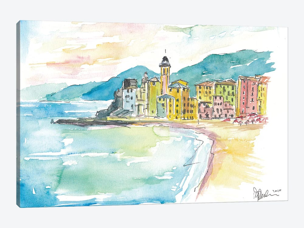 Camogli Beach with Historic Italian Town Center by Markus & Martina Bleichner 1-piece Canvas Art Print