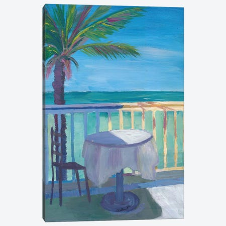 Caribbean Dreams Retro Poster - Seaview Cafe Table Canvas Print #MMB208} by Markus & Martina Bleichner Canvas Art Print