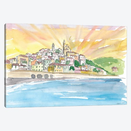 Cervo Liguria Italian Village by The Sea Canvas Print #MMB209} by Markus & Martina Bleichner Art Print