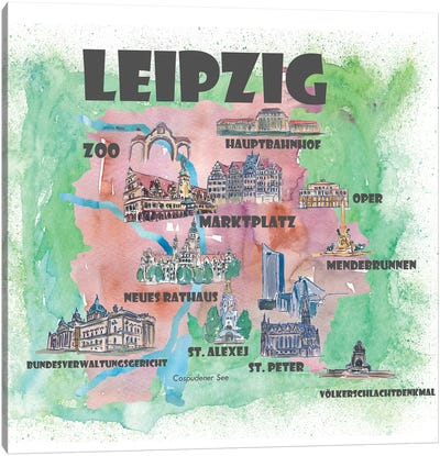 Leipzig, Germany Travel Poster Canvas Art Print