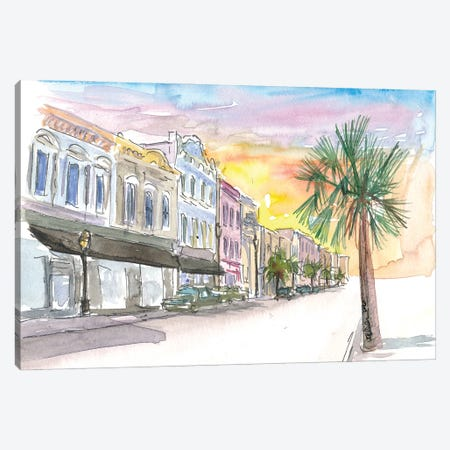 Charleston Street Scene With Sunset In South Carolina Canvas Print #MMB210} by Markus & Martina Bleichner Canvas Art