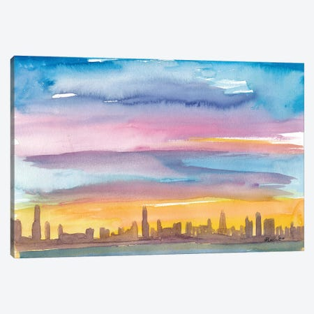 Chicago Illinois Skyline in Golden Sunset Mood Canvas Print #MMB211} by Markus & Martina Bleichner Canvas Wall Art