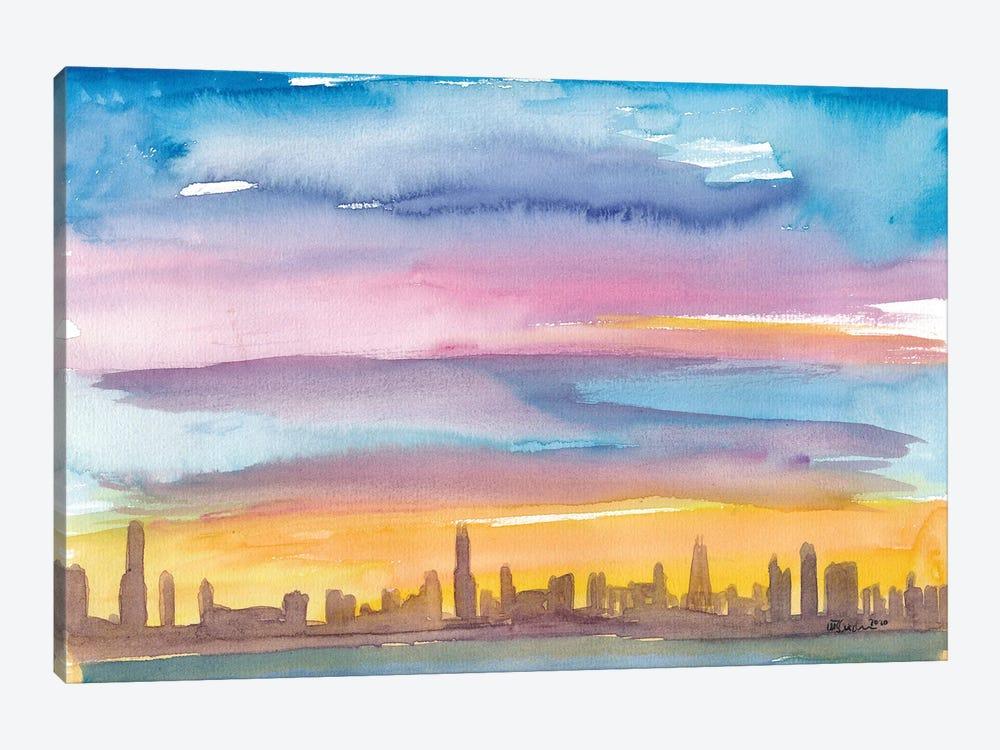 Chicago Illinois Skyline in Golden Sunset Mood by Markus & Martina Bleichner 1-piece Canvas Wall Art