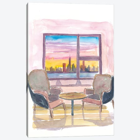 Cozy Panorama Window To Downtown New York City Canvas Print #MMB214} by Markus & Martina Bleichner Canvas Art Print