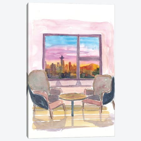 Cozy Panorama Window To Downtown Seattle Washington Canvas Print #MMB215} by Markus & Martina Bleichner Art Print
