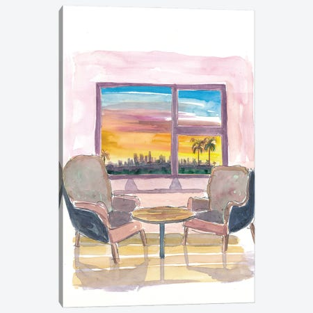 Cozy Panorama Window To Los Angeles California Canvas Print #MMB217} by Markus & Martina Bleichner Canvas Art Print