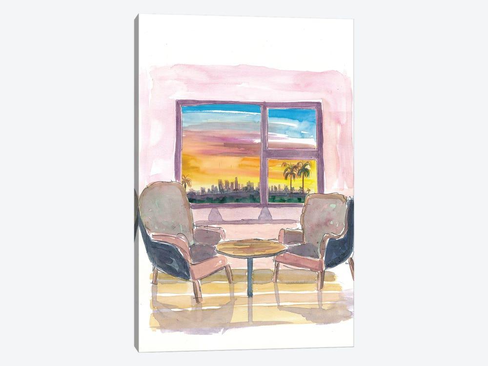 Cozy Panorama Window To Los Angeles California by Markus & Martina Bleichner 1-piece Canvas Artwork