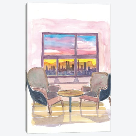 Cozy Panorama Window To Munich Bavaria Skyline with Alps at Sunset Canvas Print #MMB218} by Markus & Martina Bleichner Canvas Art