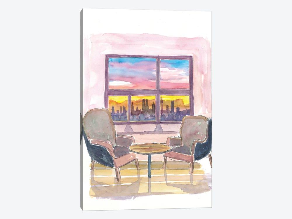 Cozy Panorama Window To Munich Bavaria Skyline with Alps at Sunset by Markus & Martina Bleichner 1-piece Canvas Print