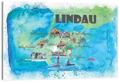 Lindau, Bavaria ,Germany Travel Poster Canvas Art Print