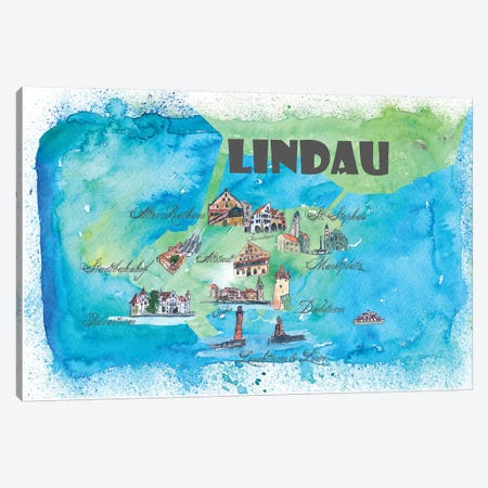 Lindau, Bavaria ,Germany Travel Poster Canvas Print #MMB21} by Markus & Martina Bleichner Canvas Print