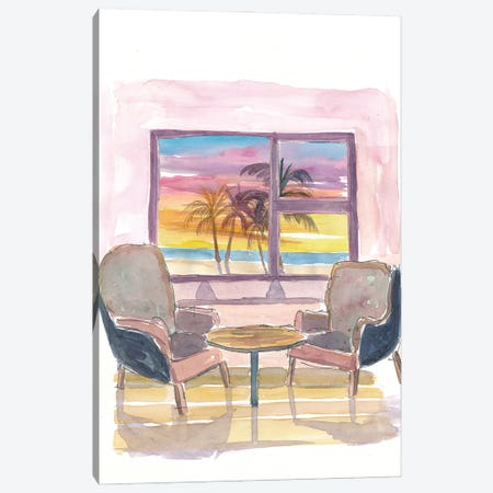 Cozy Panorama Window To Sunset and Beach Canvas Print #MMB220} by Markus & Martina Bleichner Canvas Art Print