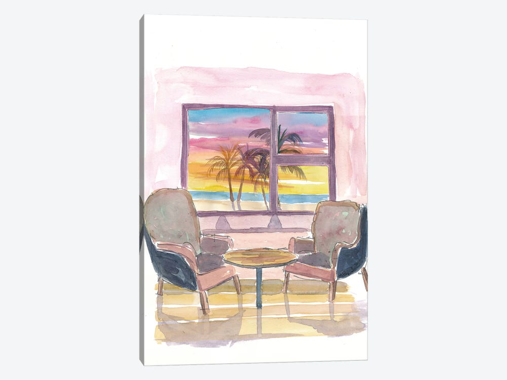 Cozy Panorama Window To Sunset and Beach by Markus & Martina Bleichner 1-piece Canvas Wall Art