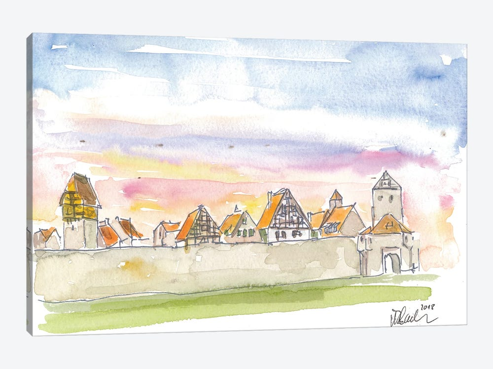 Dinkelsbuehl Bavaria City Walls and Old Town during Sunset by Markus & Martina Bleichner 1-piece Canvas Print