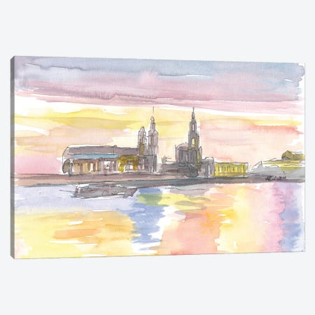 Dresden Historic Waterfront with Landmarks Canvas Print #MMB222} by Markus & Martina Bleichner Art Print