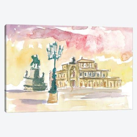 Dresden Semperoper in Golden Sunlight Canvas Print #MMB224} by Markus & Martina Bleichner Canvas Wall Art