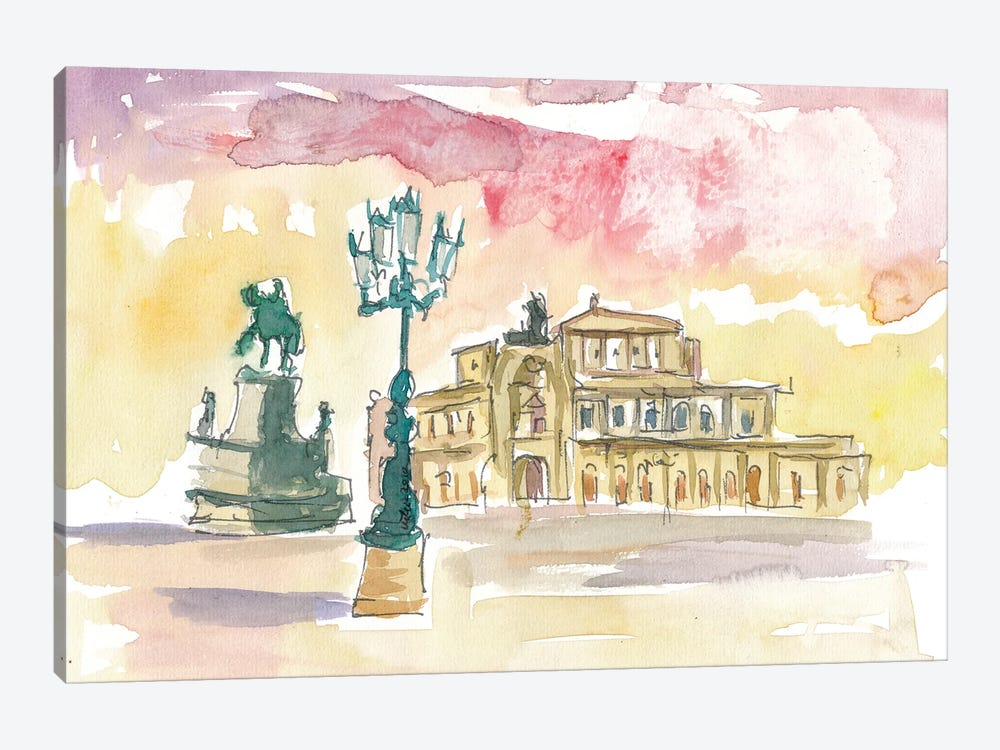 Dresden Semperoper in Golden Sunlight by Markus & Martina Bleichner 1-piece Canvas Wall Art