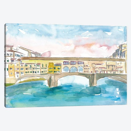 Florence Tuscany Ponte Vecchio At Sunset Canvas Print #MMB225} by Markus & Martina Bleichner Canvas Art
