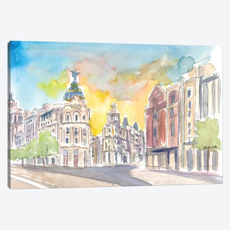 Gran Via Street Morning Scene In Madrid Spain Canvas Print #MMB228} by Markus & Martina Bleichner Canvas Art Print