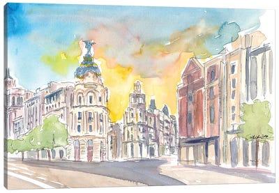 Gran Via Street Morning Scene In Madrid Spain Canvas Art Print