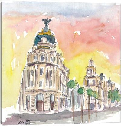 Gran Via Street Scene Afternoon In Madrid Spain Canvas Art Print