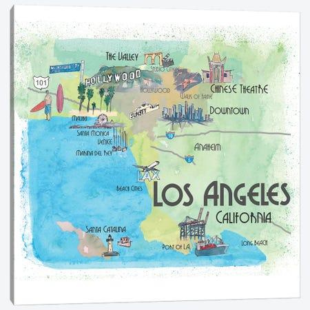Los Angeles,California Travel Poster Canvas Print #MMB22} by Markus & Martina Bleichner Art Print
