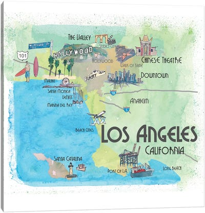 Los Angeles,California Travel Poster Canvas Art Print