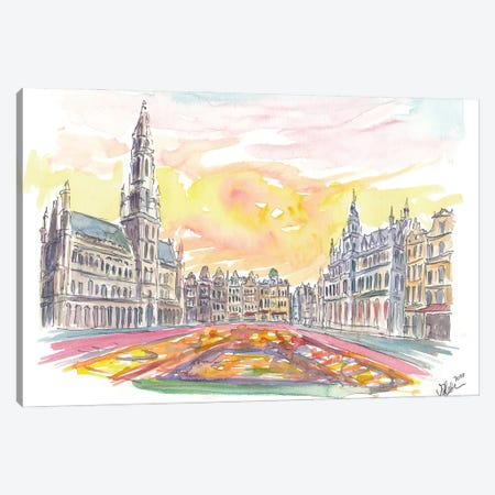 Grand Place Brussels Belgium with Flower Carpet Canvas Print #MMB231} by Markus & Martina Bleichner Canvas Wall Art