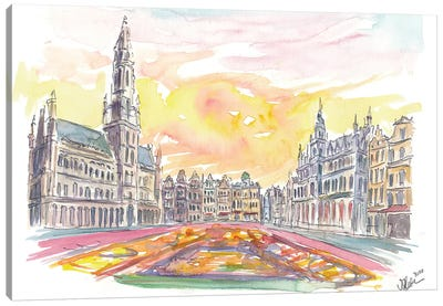 Grand Place Brussels Belgium with Flower Carpet Canvas Art Print