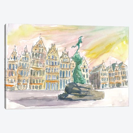 Grote Markt Antwerp Street Scene Afternoon Canvas Print #MMB232} by Markus & Martina Bleichner Canvas Art