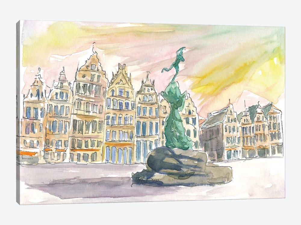 Grote Markt Antwerp Street Scene Afternoon by Markus & Martina Bleichner 1-piece Canvas Art Print