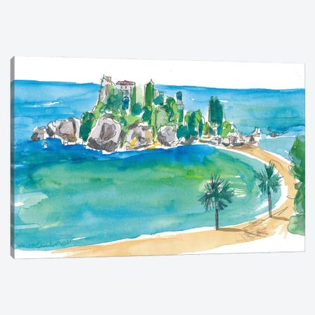 Isola Bella Taormina Beautiful Island Dreams In Sicily Italy Canvas Print #MMB235} by Markus & Martina Bleichner Art Print