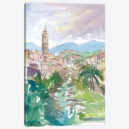 Italian Country Town Liguria with Creek And Bridge Canvas Print #MMB236} by Markus & Martina Bleichner Canvas Print